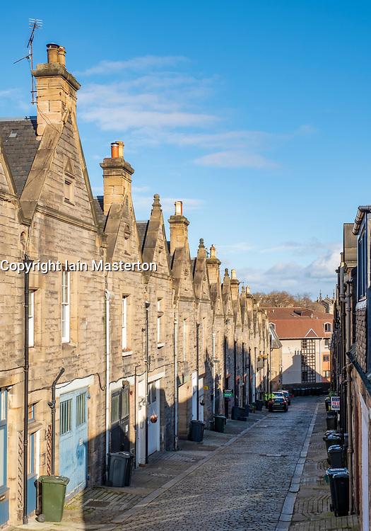 View of Mews houses on narrow street at Rothesay Mews in Edinburgh, Scotland, UK