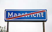 Leaving Maastricht sign, Limburg province, Netherlands, concept of British exit from European Union treaties