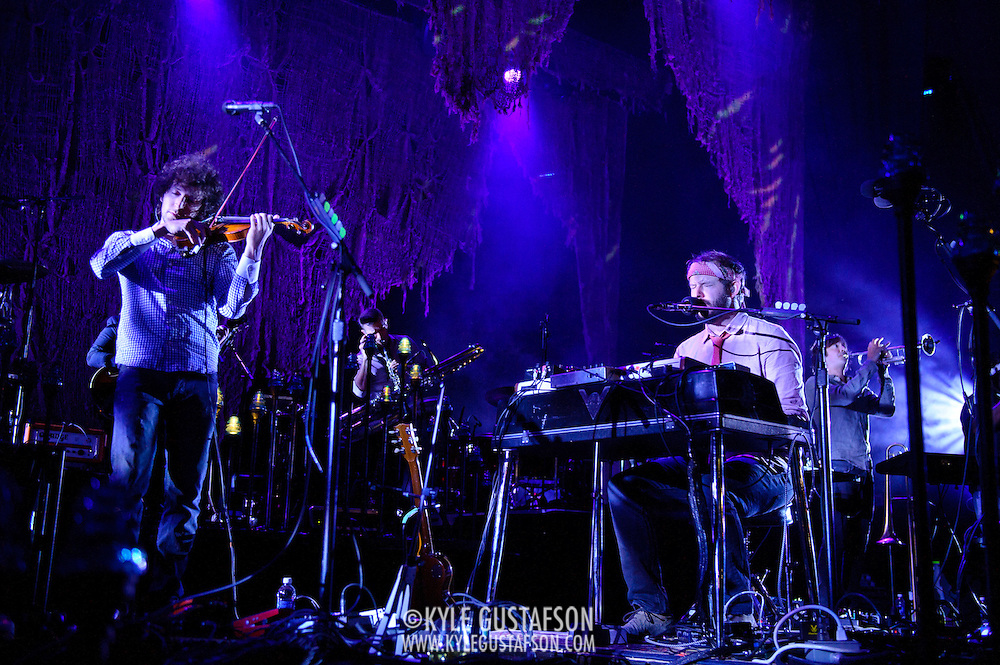 COLUMBIA, MD - September 15th, 2012 - Rob Moose, Justin Vernon and C.J. Camerieri of Bon Iver perform at Merriweather Post Pavilion in Columbia, MD. The group graduated from large clubs to amphitheatres on the success of their second, self-titled album. (Photo by Kyle Gustafson/For The Washington Post)