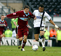 Photo: Dave Linney.<br />Derby County v Burnley. Coca Cola Championship. 11/03/2006Derby's .Giles Barnes(R) charges past  John Spencer