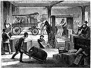 Loading up horse-drawn vans at the Wells Fargo general office, New York. From 'Harper's New Monthly Magazine' New York 1875. Wood engraving.