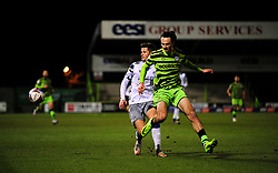 Aaron Collins of Forest Green Rovers is challenged by Josh Doherty of Colchester United- Mandatory by-line: Nizaam Jones/JMP - 27/02/2021 - FOOTBALL - The innocent New Lawn Stadium - Nailsworth, England - Forest Green Rovers v Colchester United - Sky Bet League Two