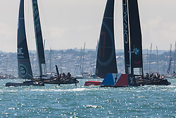 © Licensed to London News Pictures. 23/07/2016. Portsmouth, United Kingdom.  Team Land Rover BAR and Oracle Team USA competing in the first day of racing for the America's Cup World Series (ACWS) in Portsmouth this weekend, 22nd-24th July 2016. British Olympic sailing legend, Sir Ben Ainslie, is leading his all-British team, Land Rover BAR, against other teams in a battle to qualify for a place in the two team America's Cup final, to be held in Bermuda in 2017. Photo credit: Rob Arnold/LNP