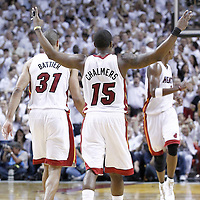 21 June 2012: Miami Heat point guard Mario Chalmers (15) celebrates during the Miami Heat 121-106 victory over the Oklahoma City Thunder, in Game 5 of the 2012 NBA Finals, at the AmericanAirlinesArena, Miami, Florida, USA. The Miami Heat wins the series 4-1.