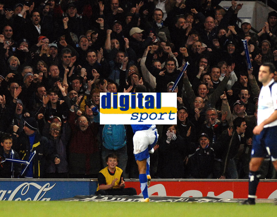 Photo: Ashley Pickering.<br />Ipswich Town v Colchester United. Coca Cola Championship. 20/01/2007.<br />Ipswich's Danny Haynes does a dance in front of home fans to celebrate his goal