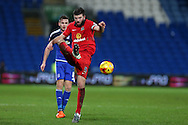 Grant Hanley, the Blackburn Rovers captain in action.Skybet football league championship match, Cardiff city v Blackburn Rovers at the Cardiff city stadium in Cardiff, South Wales on Saturday 2nd Jan 2016.<br /> pic by Andrew Orchard, Andrew Orchard sports photography.