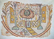 Roman mosaic of the inside of a church, Eastern Mediterranean, 5th century AD. This abstract representation of a church choir shows two columns, a low lattice  divider and a pair of oriental designed curtains at the top. beyond is the inner sanctum of the church with a Mandorla surrounded by flames with a cross in it. In the foreground is a a hare and devouring a bunch of grapes next to Greek letter that translate to 'Christ rescues'. Inv 5093, The Louvre Museum, Paris .<br /> <br /> If you prefer to buy from our ALAMY PHOTO LIBRARY  Collection visit : https://www.alamy.com/portfolio/paul-williams-funkystock/roman-mosaic.html - Type -   Louvre    - into the LOWER SEARCH WITHIN GALLERY box. Refine search by adding background colour, place, museum etc<br /> <br /> Visit our ROMAN MOSAIC PHOTO COLLECTIONS for more photos to download  as wall art prints https://funkystock.photoshelter.com/gallery-collection/Roman-Mosaics-Art-Pictures-Images/C0000LcfNel7FpLI .