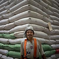 José Jacinto Zuniga works in the coffee warehouse of Molinos in San Pedro Sula, Honduras.