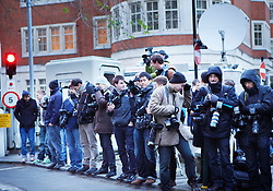 © under license to London News Pictures.  The media wait for Julian Asssange to leave Westminster Magistrates court  (07/12/10) where Assange appeared on sexual assault charges. Photo credit should read: Olivia Harris/ London News Pictures