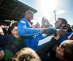 Montrose Marvin Andrews with the fans at the end. <br /> Montrose 3 v 1 Brora Rangers, Scottish League Two play-off second leg, today at Links Park, Montrose.