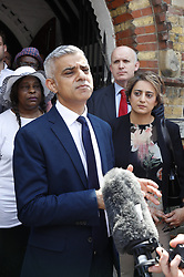 © Licensed to London News Pictures. 18/06/2017. London, UK. Mayor of London Sadiq Khan leaves St Clements church after attending a church service near Grenfell tower . The blaze engulfed the 27-storey building killing dozens - with 34 people still in hospital, many of whom are in critical condition. The fire brigade say that they don't expect to find anyone else alive. Photo credit: Peter Macdiarmid/LNP