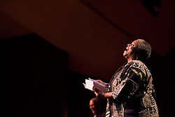 """Bernice Johnson Reagon lecture at Stanford's Dinkelspiel auditorium. She is a 60's Civil Rights activist and founder of the gospel-blues folk group """"Sweet Honey in the Rock""""."""