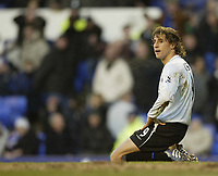 Photo: Aidan Ellis.<br /> Everton v Chelsea. The FA Cup. 28/01/2006.<br /> Chelsea's Hernan Crespo after missing a chance to score