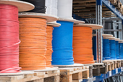 Wire bundles in cable warehouse, Munich, Bavaria, Germany