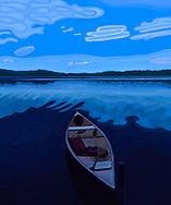Canoe on Maine Lake at Dusk