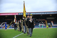 Football remembers - remembrance poppies - 100 years  during the The FA Cup 1st round match between Rochdale and Gateshead at Spotland, Rochdale, England on 10 November 2018.