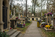 A woman places a candle in front of a tomb at Rakowicki Cemetery in Krakow, Poland 2019.