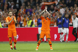 (L-R), Daley Blind of Holland, Wesley Sneijder of Holland during the International friendly match match between The Netherlands and Peru at the Johan Cruijff Arena on September 06, 2018 in Amsterdam, The Netherlands
