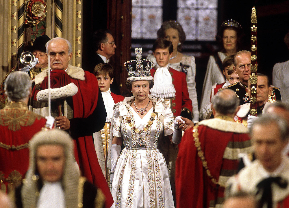 The Queen and Prince Philip seen at the State Opening of Parliament in 1989. Palace of Westminster, London. Photograph by Jayne Fincher