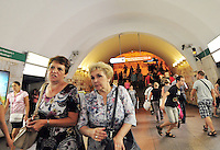 On the move underground in the St. Petersburg, Russia metro. With 5 lines, the city subway is fast, clean, and efficient. Built deep and made to last, the system serves the five million residents of this sophisticated city well.