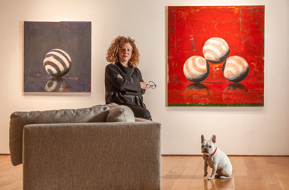 Senior Consultant Lisa Archambeau and her dog, Hugo, with the work of John Gibson at the Caldwell Snyder Gallery in Saint Helena, CA  lisa@caldwellsnyder.com