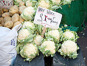 Half price cauliflowers for sale market stall priced £1.00 each