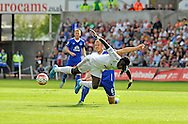 Bafetimbi Gomis of Swansea City is tackled by Everton Captain Phil Jagielka in the first half.<br /> Barclays Premier League match, Swansea city v Everton at the Liberty Stadium in Swansea, South Wales on Saturday 19th September 2015.<br /> pic by Phil Rees, Andrew Orchard sports photography.