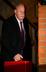 """© Licensed to London News Pictures. 04/12/2017. London, UK. First Secretary of State DAMIAN GREEN seen leaving his London home. The findings of an inquiry in to the conduct of MP Damian Green are due to be released, following allegations that """"extreme"""" pornography was found on his computer during a police raid in 2018. Green was already under investigation for allegedly propositioning former Tory activist, Kate Maltby. Photo credit: Ben Cawthra/LNP"""