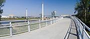 View of the Bob Kerrey Bridge and Missouri River, looking west toward Omaha, Nebraska from Council Bluffs, Iowa.