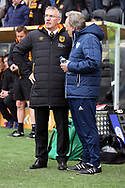 Hull City Manager Nigel Adkins and Cardiff City Manager Neil Warnock  during the EFL Sky Bet Championship match between Hull City and Cardiff City at the KCOM Stadium, Kingston upon Hull, England on 28 April 2018. Picture by Mick Atkins.