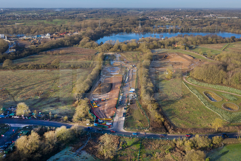 VIDEO AVAILABLE : https://we.tl/t-SQVmqbvcNl© Licensed to London News Pictures. 29/01/2020. London, UK. Preparation for the High Speed Two (HS2) rail line continues west of Newyears Green looking towards The Grand Union Canal and lakes at the Hillingdon Outdoor Activities Centre in the London Borough of Hillingdon.  A government decision is expected soon on whether the HS2 rail project will fully go ahead with some budget estimates showing a cost of £70-£80bn. Photo credit: Peter Macdiarmid/LNP