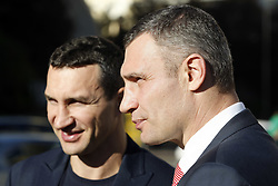 October 1, 2018 - Kiev, Ukraine - Former heavyweight boxing champion and current Mayor of Kiev VITALI KLITSCHKO (R) and Ukrainian boxing champion VLADIMIR KLITSCHKO (L) take part at the opening of the 56th World Boxing Convention in Kiev, Ukraine, on 1 October 2018. The WBC 56th congress in which take part boxing legends Evander Holyfield,Lennox Lewis, Eric Morales and about 700 participants from 160 countries runs in Kiev from from September 30 to October 5. (Credit Image: © Serg Glovny/ZUMA Wire)
