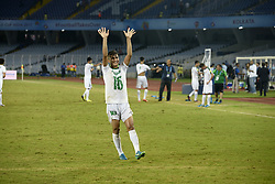 October 11, 2017 - Kolkata, West Bengal, India - Iraq defender Mohammed Albaqer celebrates their win over Chile during the FIFA U 17 World Cup India 2017 Group F match in Kolkata. Player of Iraq and Chile in action during the FIFA U 17 World Cup India 2017 Group F match on October 11, 2017 in Kolkata. (Credit Image: © Saikat Paul/Pacific Press via ZUMA Wire)