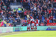 CELE 1-2 Bristol City's Andreas Weimann (14) (hidden) celebrates scoring his side's second goal with his team mates during the EFL Sky Bet Championship match between Cardiff City and Bristol City at the Cardiff City Stadium, Cardiff, Wales on 28 August 2021.