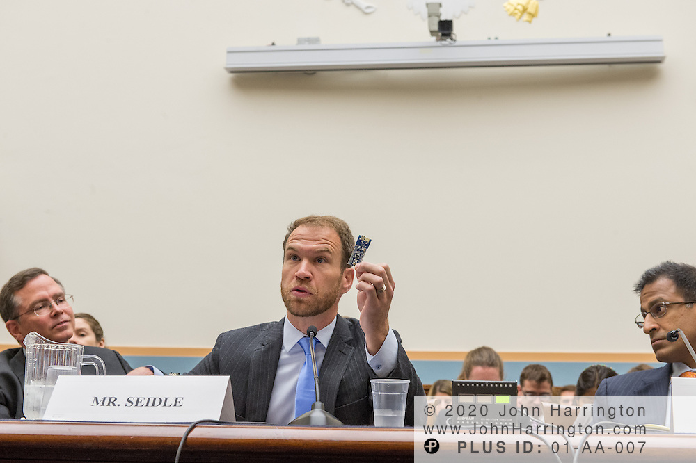 """Nathan Seidle, CEO, SparkFun Electronics Inc., testifies, as his fellow panelists look on, before the House Committe on the Judiciary on """"Innovation in America: The Role of Technology"""", August 1, 2013on Capitol Hill in Washington, DC."""