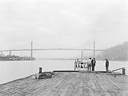9969-1355. Mazama trip. View southward up the Willamette River toward the St. Johns bridge. February 25, 1934.