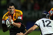Chiefs Lock Isaac Ross braking the line of Rebels player Julian Huxley the Chiefs 38-10 win,during the Investec Super 15 Rugby match, Chiefs v Rebels, at Waikato Stadium, Hamilton, New Zealand, Saturday 5 March 2011. Photo: Dion Mellow/photosport.co.nz