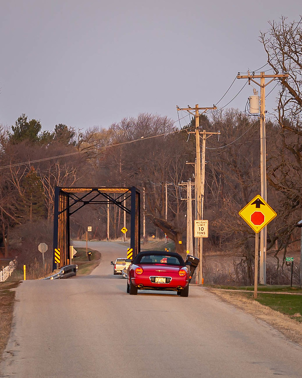 Wisconsin Rustic Road, Dane County, Town of Dunn, Dyreson Road Bridge, 1897 truss bridge of steel, wood and concrete, spanning Yahara River. Photo take morning of March 30, 2021.