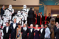 Producer Simon Emanuel,  Joonas Suotamo, actress Thandie Newton, Woody Harrelson, director Ron Howard, actress Emilia Clarke, actor Alden Ehrenreich, actor Donald Glover, Chewbacca, at the Solo: A Star Wars Story gala screening at the 71st Cannes Film Festival, Tuesday 15th May 2018, Cannes, France. Photo credit: Doreen Kennedy