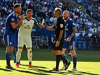 Football - 2018 / 2019 Premier League - Cardiff City v Liverpool<br /> <br /> Sean Morrison of Cardiff City appeals toreferee Mr M. Atkinson after   conceding a  penalty against Mohamed Salah of Liverpool at Cardiff City Stadium.<br /> <br /> COLORSPORT/WINSTON BYNORTH