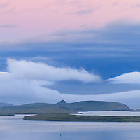 View on Begenish Island with fisher boat sunrise, county kerry, ireland / ch230