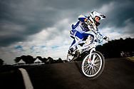 #991 (WARNIER Bryan) BEL at the UCI BMX Supercross World Cup in Papendal, Netherlands.