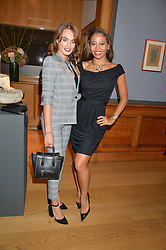 Left to right, LADY VIOLET MANNERS and VISCOUNTESS WEYMOUTH at a party to celebrate the publication of Capability Brown & Belvoir - Discovering a lost Landscape by The Duchess of Rutland, held at Christie's, 8 King Street, St.James, London on 7th October 2015.