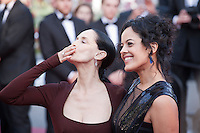 Actress Sonia Braga and Maeve Jinkings at the gala screening for the film Aquarius at the 69th Cannes Film Festival, Tuesday 17th May 2016, Cannes, France. Photography: Doreen Kennedy