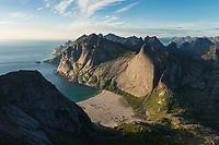 View over Bunes beach from isolated mountain peak, Moskenesøy, Lofoten Islands, Norway