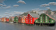 Colorful tree houses riverfront Trondheim