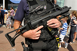 © Licensed to London News Pictures. 25/07/2012. Cardiff, Wales, UK.  Armed police at the first event of the 2012 Olympics, the womens football match between Great Britain and New Zealand at the Millennium Stadium in Cardiff. 25 July 2012..Photo credit : Simon Chapman/LNP
