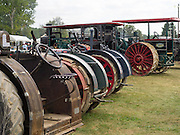 Rear view of antique J.I. Case steam tractors; Rock River Thresheree, Edgerton, WI; 2 Sept 2013