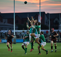 Dragons' Hallam Amos and Benetton Treviso's Tommaso Benvenuti vie for the high ball<br /> <br /> Photographer Simon King/Replay Images<br /> <br /> 1 Round 1 - Dragons v Benetton Treviso - Saturday 1st September 2018 - Rodney Parade - Newport<br /> <br /> World Copyright © Replay Images . All rights reserved. info@replayimages.co.uk - http://replayimages.co.uk
