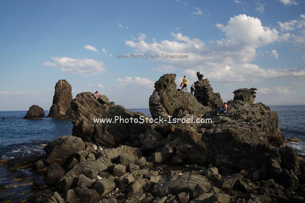 Italy, Sicily, Stromboli Island rocky seascape